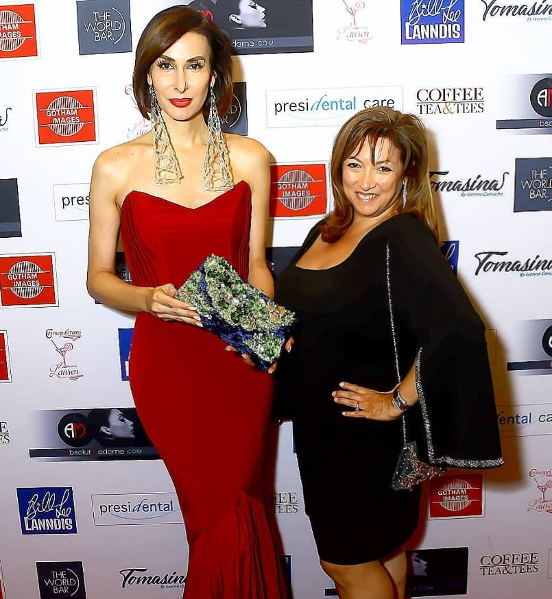 International Model-Designer Avadora Mimouni premieres her luxe handbag collection in New York City with Ivonne Camacho, CEO, AbsolutModerne. Photo credit Paul Walker @shootmenycmodels